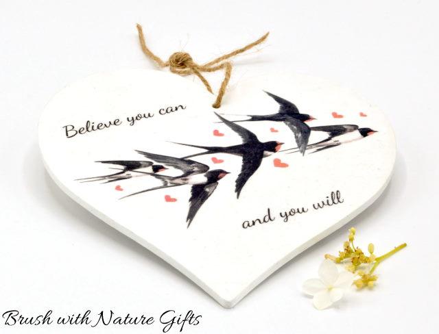 Decoupage swallows wooden heart plaque