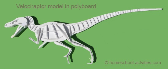 velociraptor model in polyboard