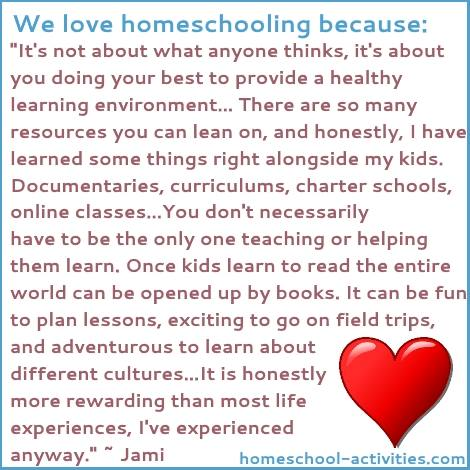 We love homeschooling because Jaime