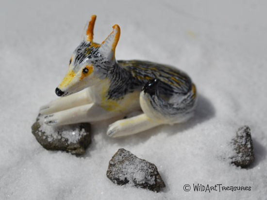 polymer clay wolf totem