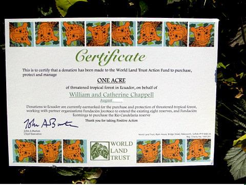 world land trust rainforest certificate
