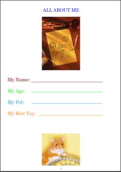 'all about me' writing worksheet