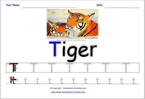 alphabet worksheet letter t
