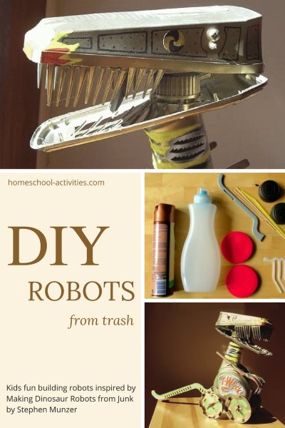 make dino robots from trash