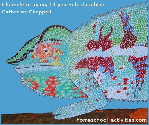 Chameleon painting by my daughter Catherine Chappell