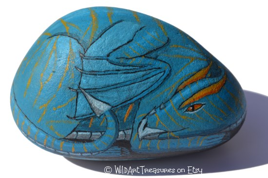 hand painted dragon on rock