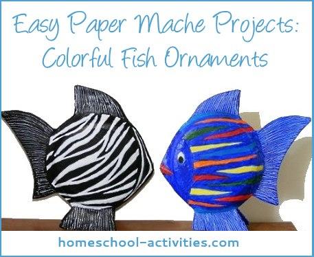 Fantastic fish paper mache ornaments