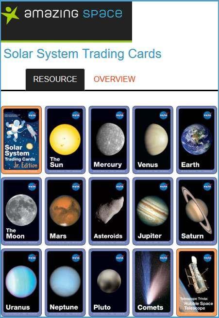 solar system trading cards