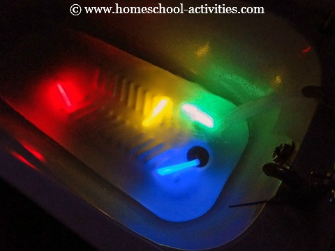glow sticks in the bath