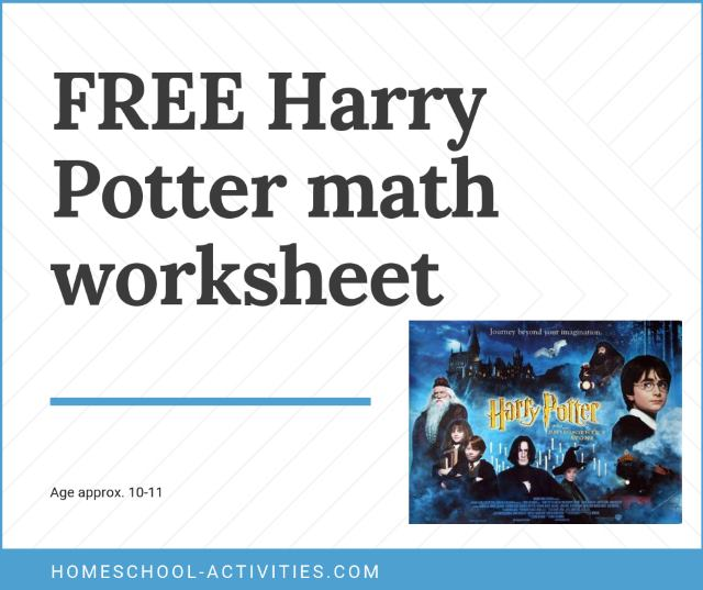 Harry Potter Math worksheet
