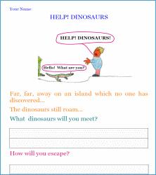 help dinosaurs! writing worksheet