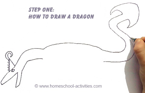 Step one how to draw a dragon