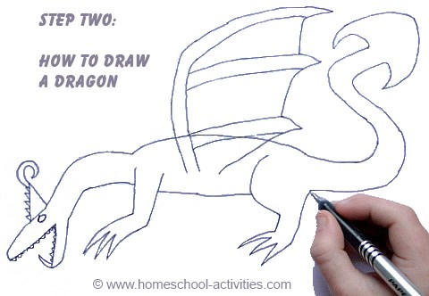 how to draw a dragon step two