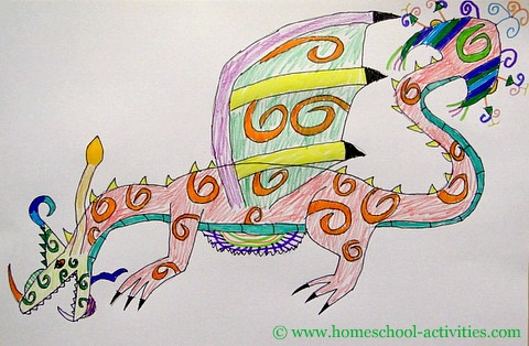 colored dragon drawin