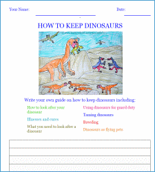 how to keep dinosaurs writing worksheet