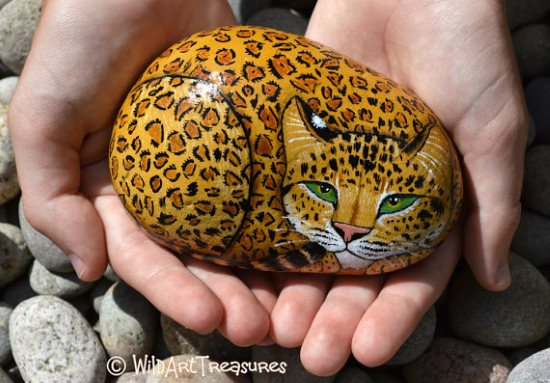 hand painted jaguar rock