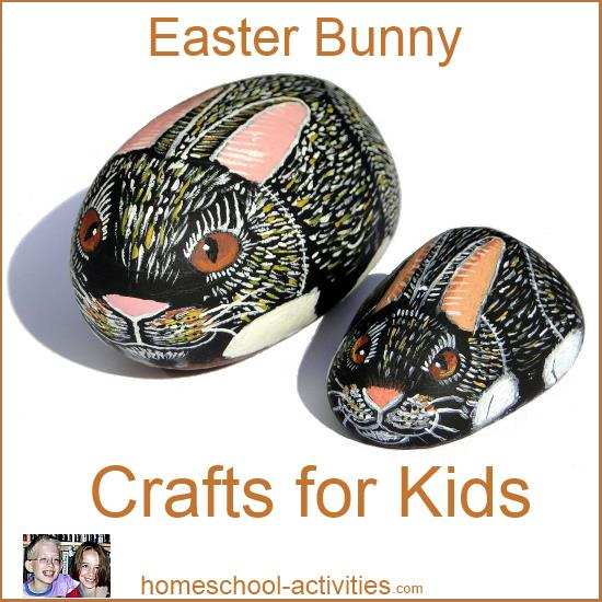 rock painted Easter bunny