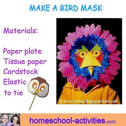 make a paper plate bird mask