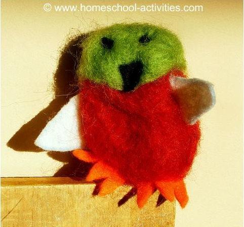 needle felted bird