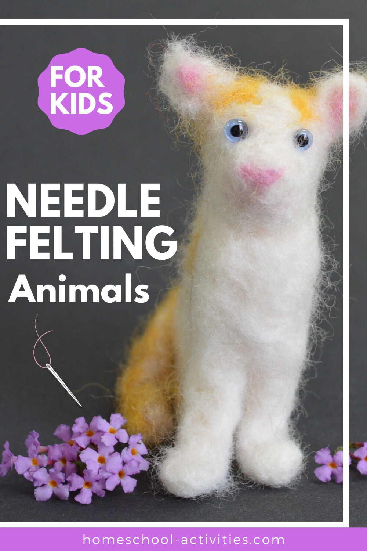 needle felted cat