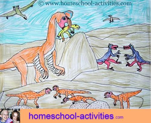drawing of oviraptors