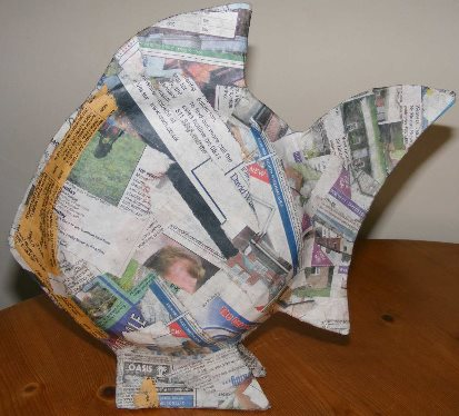 Paper mache ideas fish ornaments for Paper mache activities