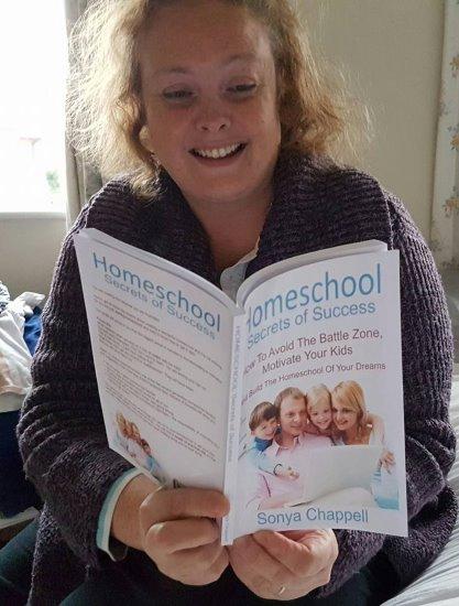 Sheila reading Homeschool Secrets of Success