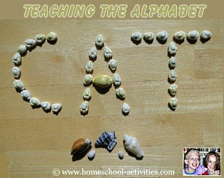 teaching the alphabet - cat in shells