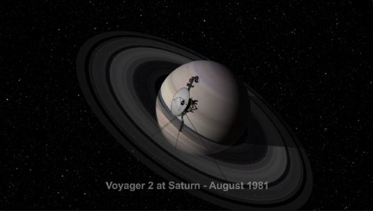 Voyager space probe at Saturn
