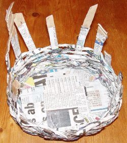 weaving an Easter basket