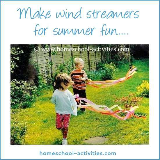 Colorful wind streamers are perfect for celebrating summer crafts for kids. Easy to make, they're ideal for outdoor activities and festivals.
